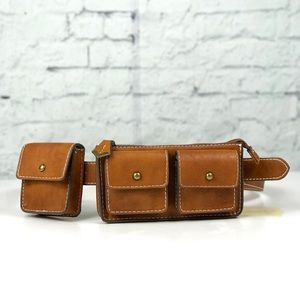 Faux Leather Cognac Adjustable Utility Fanny Pack